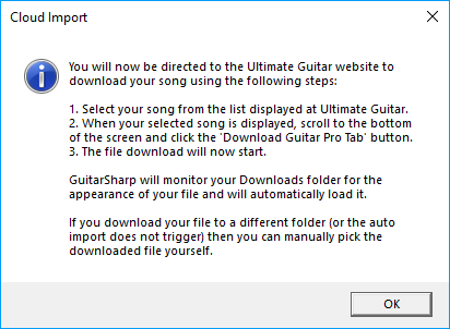 Ultimate Guitar Cloud Import instructions