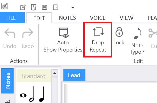 Drop Repeat menu item